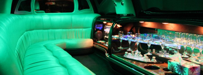 Inside of Ford Expedition 12-14 passenger SUV limo